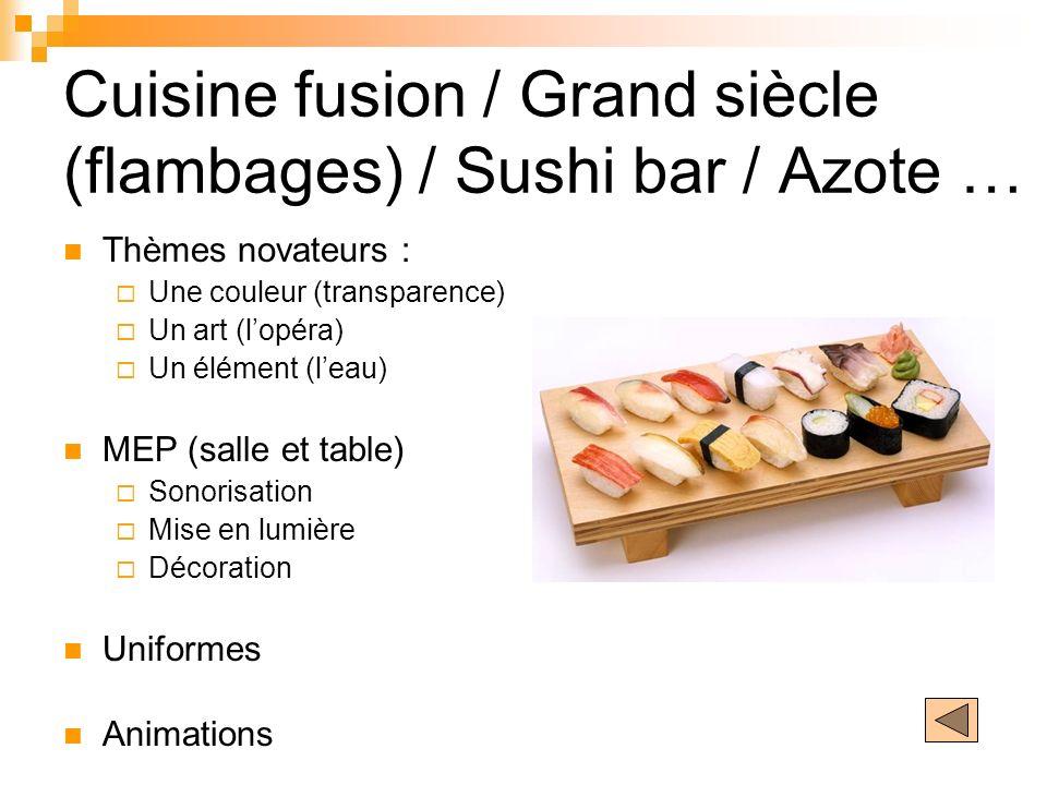 Cuisine fusion / Grand siècle (flambages) / Sushi bar / Azote … Thèmes novateurs : Une couleur (transparence) Un art (lopéra) Un élément (leau) MEP (s