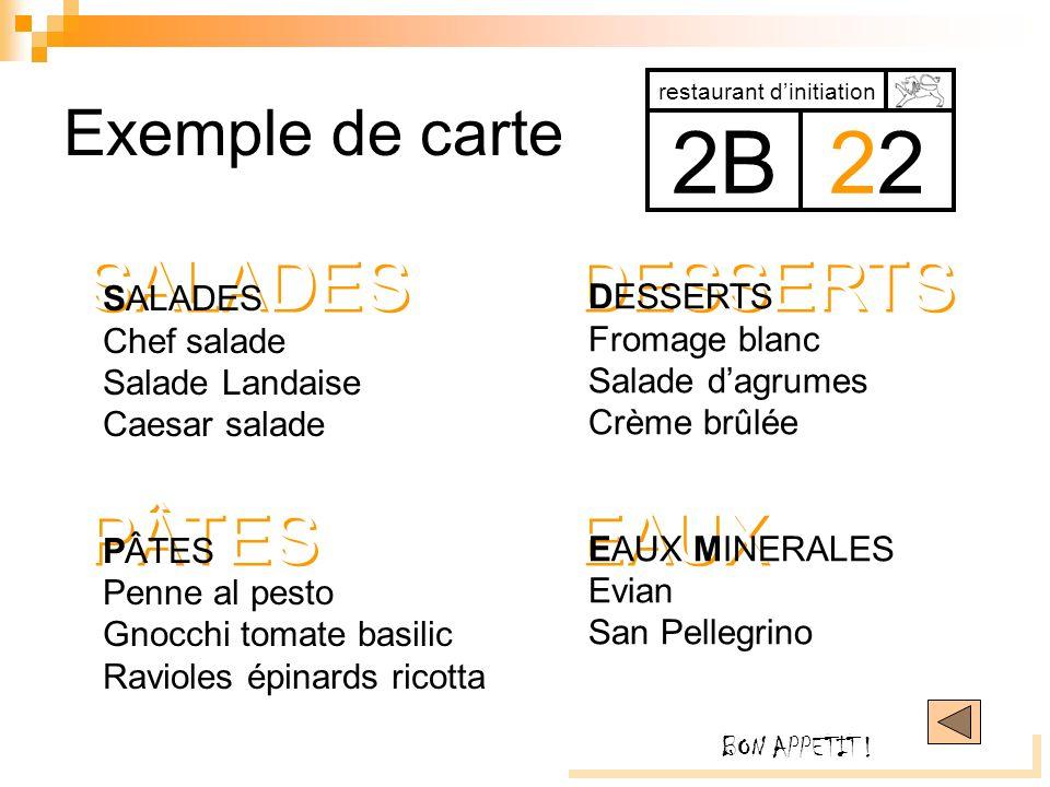 EAUX DESSERTS PÂTES SALADES Exemple de carte restaurant dinitiation 2B2 SALADES Chef salade Salade Landaise Caesar salade PÂTES Penne al pesto Gnocchi