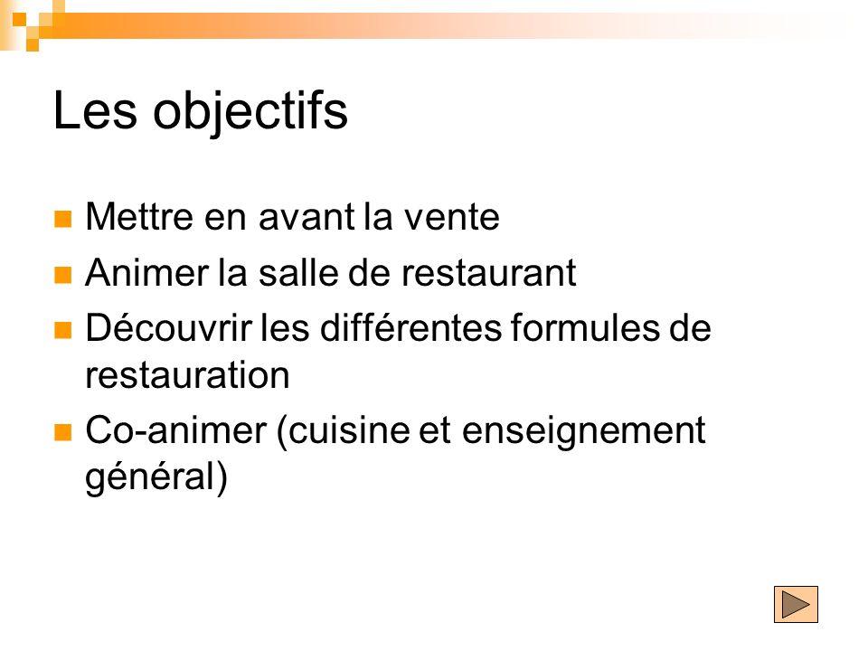 Les objectifs Mettre en avant la vente Animer la salle de restaurant Découvrir les différentes formules de restauration Co-animer (cuisine et enseigne