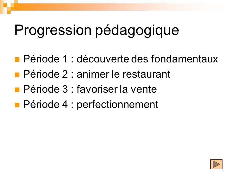 Progression pédagogique Période 1 : découverte des fondamentaux Période 2 : animer le restaurant Période 3 : favoriser la vente Période 4 : perfection