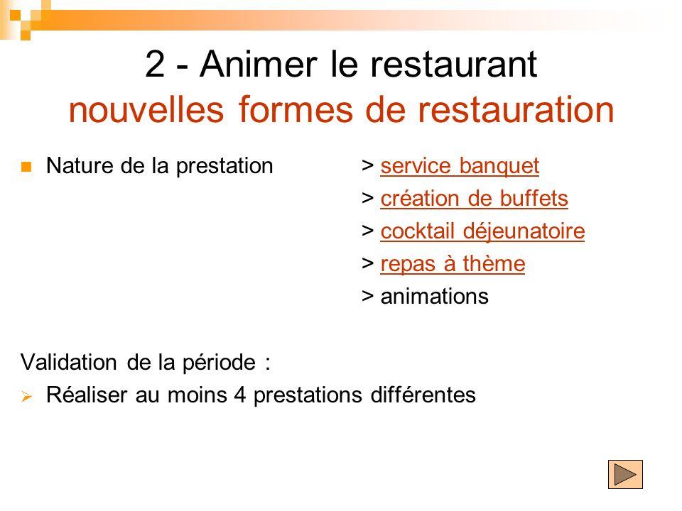 2 - Animer le restaurant nouvelles formes de restauration Nature de la prestation> service banquetservice banquet > création de buffetscréation de buf