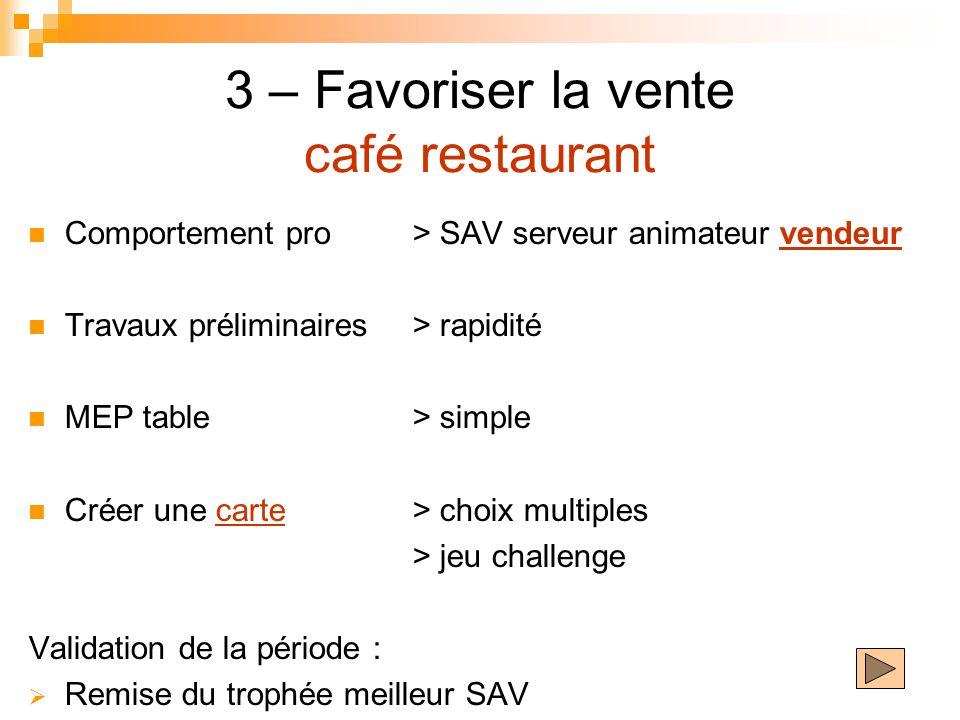 3 – Favoriser la vente café restaurant Comportement pro> SAV serveur animateur vendeur Travaux préliminaires > rapidité MEP table> simple Créer une ca