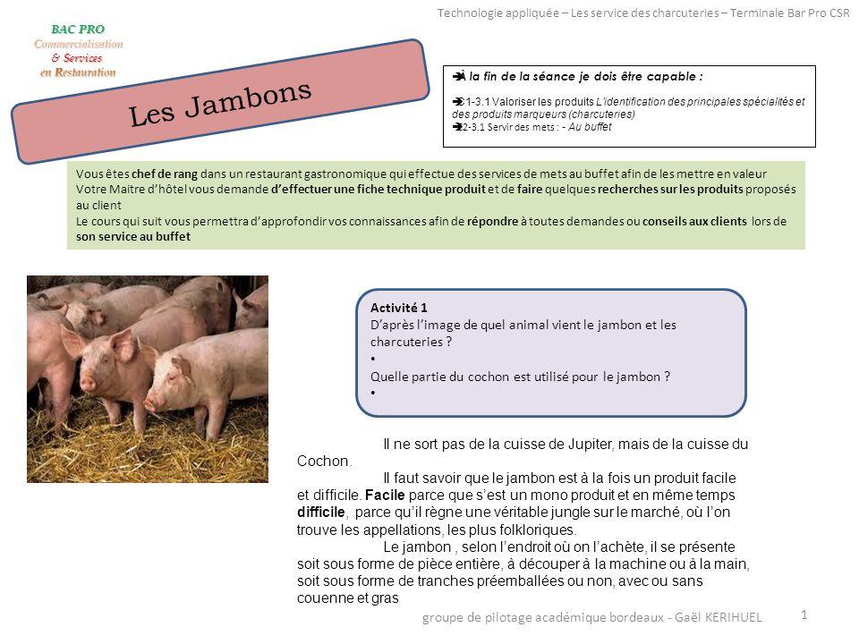 Texte 1 En France, les Ardennes, la Corse (le prisuttu ), le Massif central le Béarn, le Jura, la Savoie, la Vendée, Paris (jambon de Paris) produisent les jambons parmi les plus réputés.