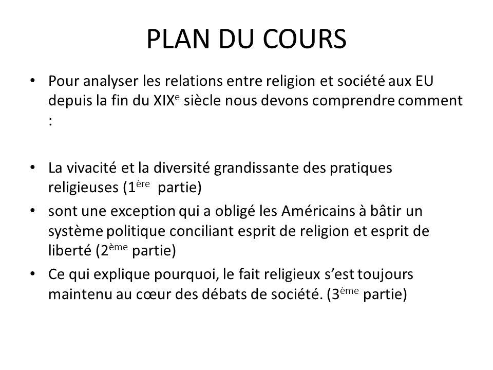 PLAN DU COURS Pour analyser les relations entre religion et société aux EU depuis la fin du XIX e siècle nous devons comprendre comment : La vivacité