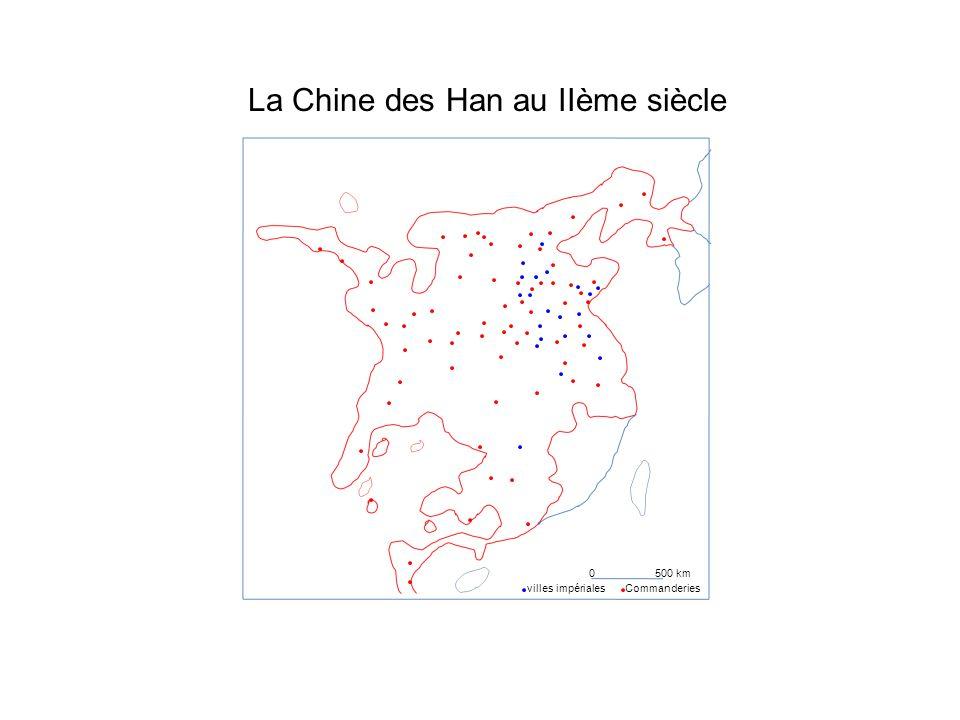 La Chine des Han au IIème siècle 0500 km Commanderiesvilles impériales