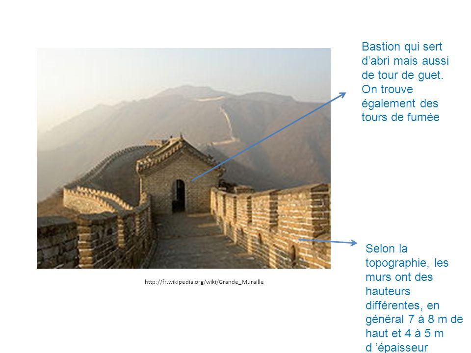 Selon la topographie, les murs ont des hauteurs différentes, en général 7 à 8 m de haut et 4 à 5 m d épaisseur Bastion qui sert dabri mais aussi de to