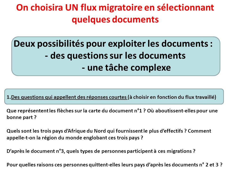 On choisira UN flux migratoire en sélectionnant quelques documents Deux possibilités pour exploiter les documents : - des questions sur les documents