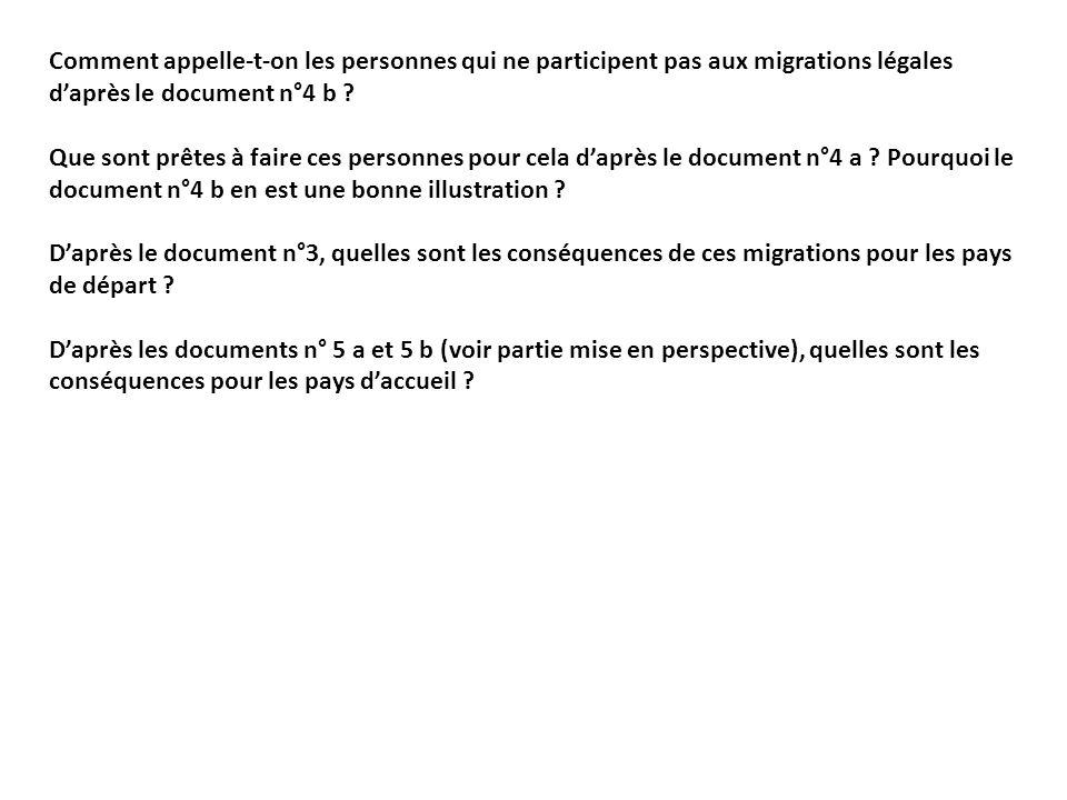 Comment appelle-t-on les personnes qui ne participent pas aux migrations légales daprès le document n°4 b ? Que sont prêtes à faire ces personnes pour