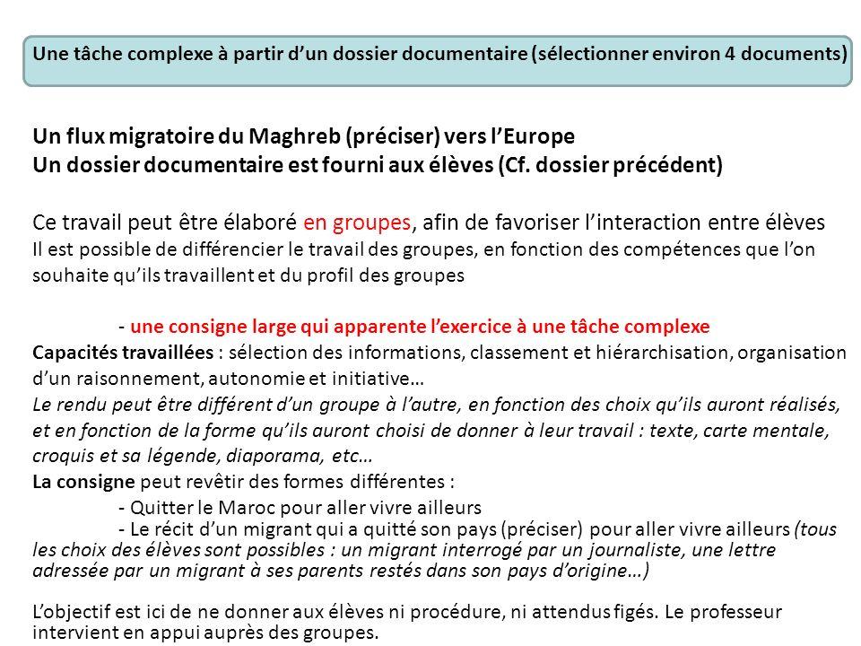 Une tâche complexe à partir dun dossier documentaire (sélectionner environ 4 documents) Un flux migratoire du Maghreb (préciser) vers lEurope Un dossi