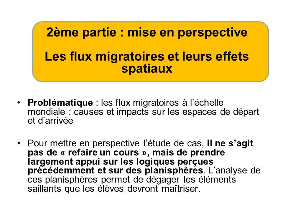 Problématique : les flux migratoires à léchelle mondiale : causes et impacts sur les espaces de départ et darrivée Pour mettre en perspective létude d