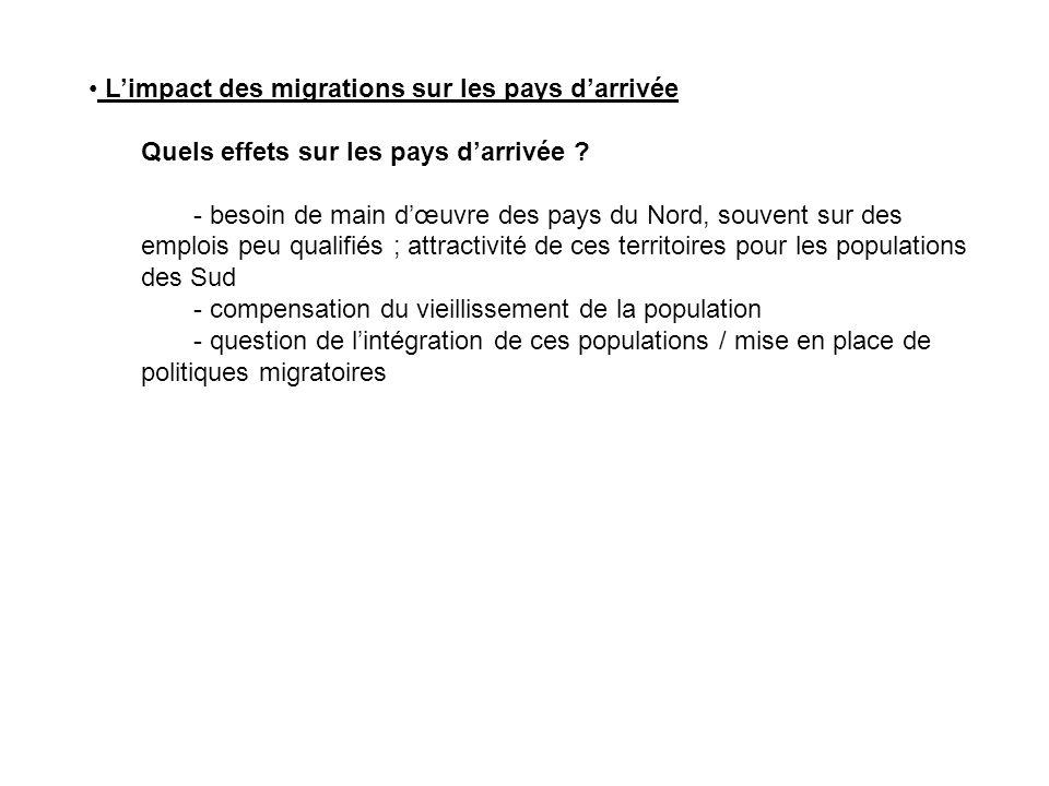 Limpact des migrations sur les pays darrivée Quels effets sur les pays darrivée ? - besoin de main dœuvre des pays du Nord, souvent sur des emplois pe