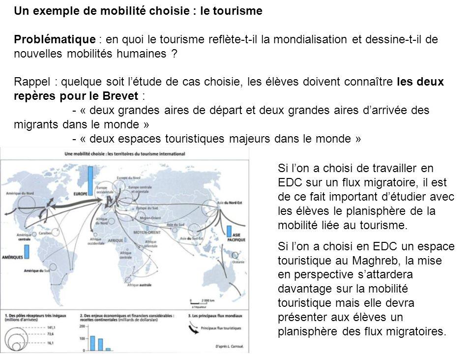 Un exemple de mobilité choisie : le tourisme Problématique : en quoi le tourisme reflète-t-il la mondialisation et dessine-t-il de nouvelles mobilités