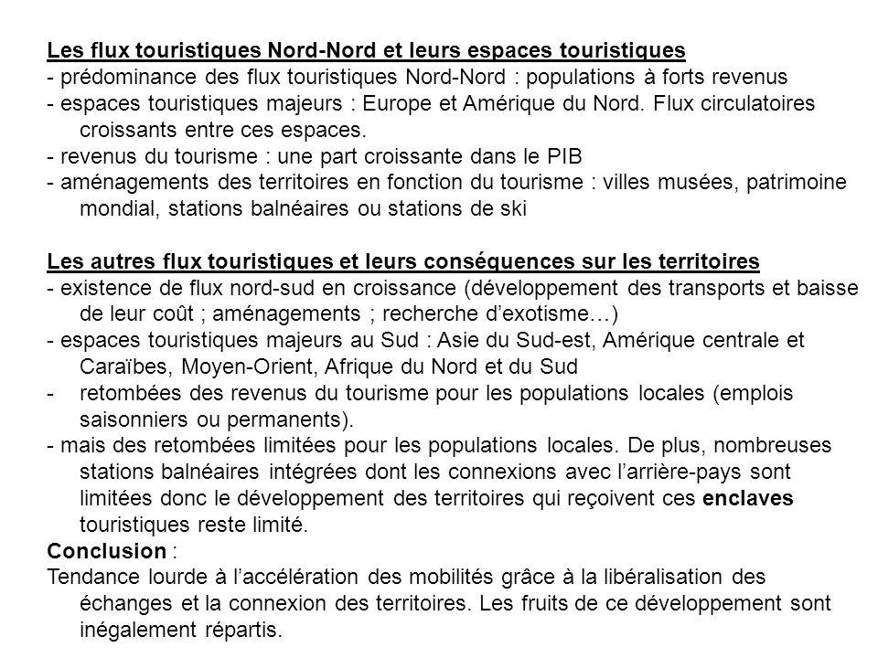 Les flux touristiques Nord-Nord et leurs espaces touristiques - prédominance des flux touristiques Nord-Nord : populations à forts revenus - espaces t