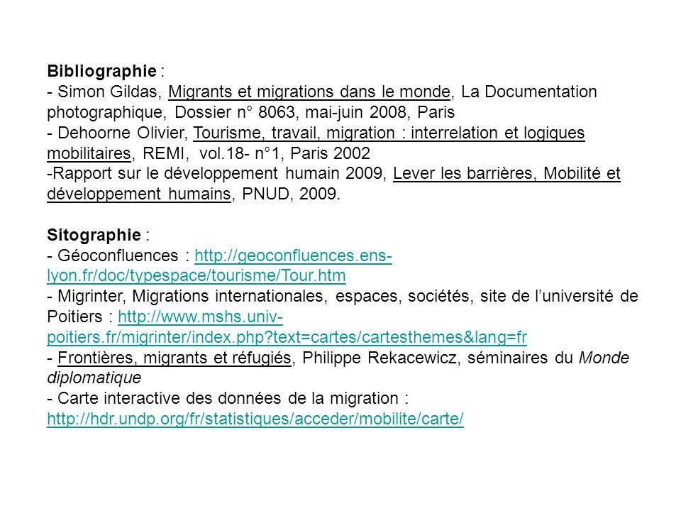Bibliographie : - Simon Gildas, Migrants et migrations dans le monde, La Documentation photographique, Dossier n° 8063, mai-juin 2008, Paris - Dehoorn