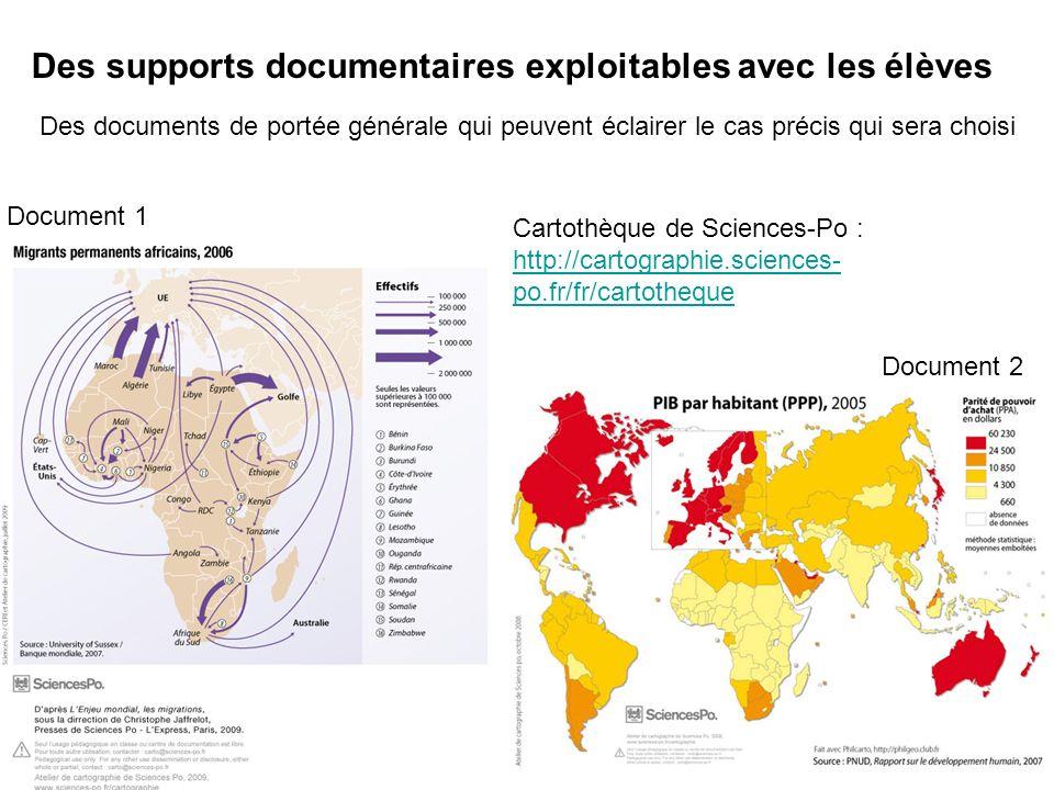 Des supports documentaires exploitables avec les élèves Cartothèque de Sciences-Po : http://cartographie.sciences- po.fr/fr/cartotheque Des documents