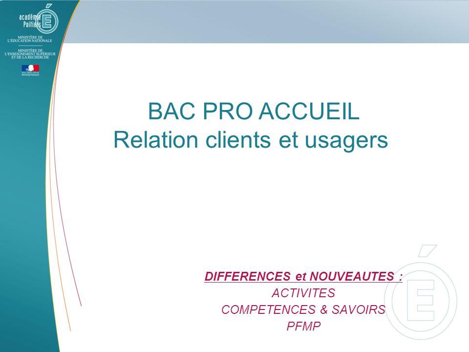 BAC PRO ACCUEIL Relation clients et usagers DIFFERENCES et NOUVEAUTES : ACTIVITES COMPETENCES & SAVOIRS PFMP