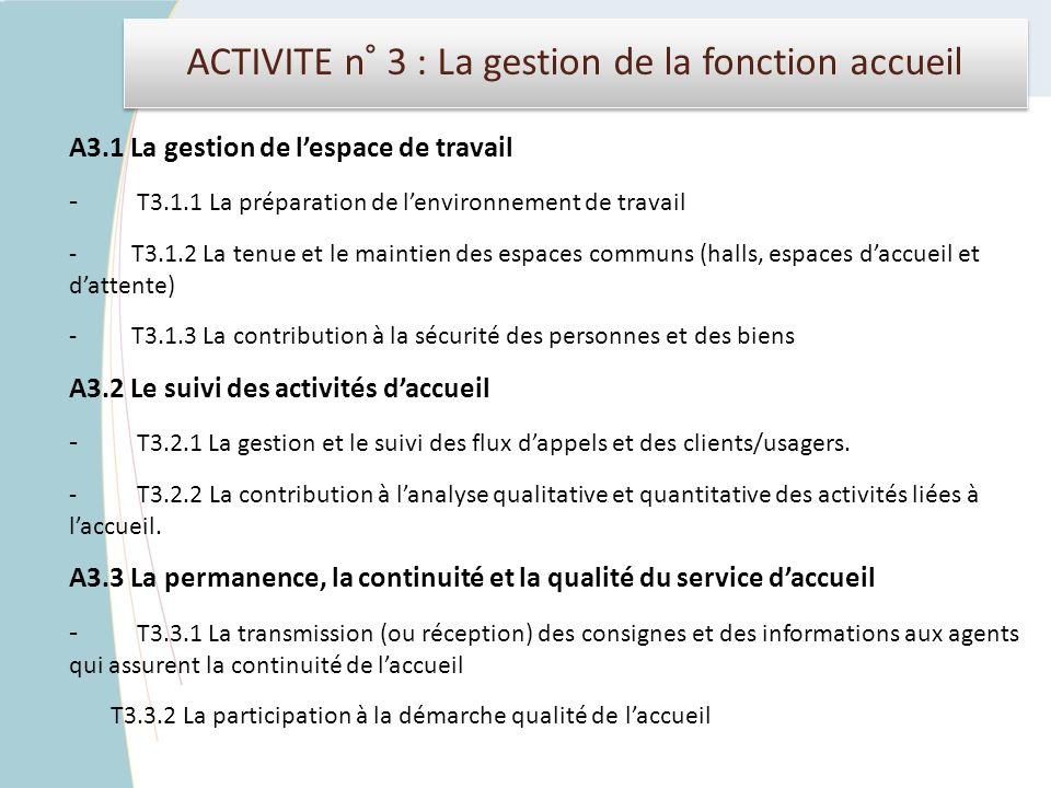 ACTIVITE n° 3 : La gestion de la fonction accueil A3.1 La gestion de lespace de travail - T3.1.1 La préparation de lenvironnement de travail - T3.1.2