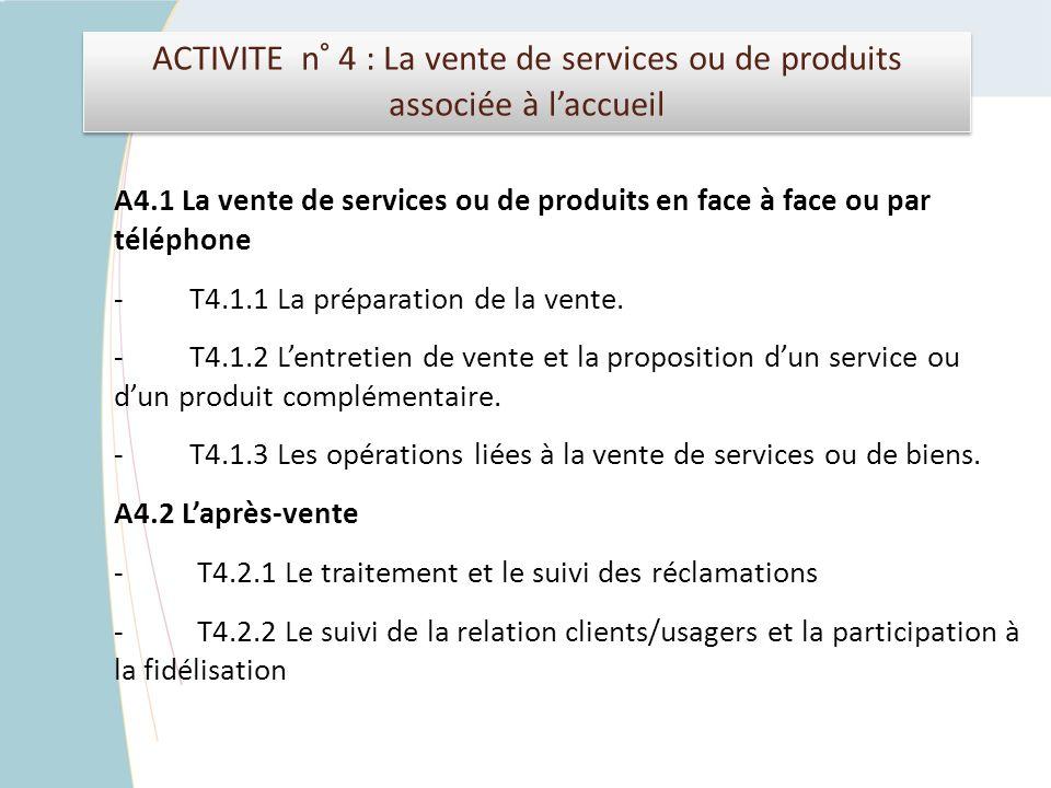 ACTIVITE n° 4 : La vente de services ou de produits associée à laccueil A4.1 La vente de services ou de produits en face à face ou par téléphone - T4.