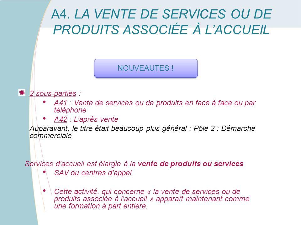A4. LA VENTE DE SERVICES OU DE PRODUITS ASSOCIÉE À LACCUEIL 2 sous-parties : A41 : Vente de services ou de produits en face à face ou par téléphone A4