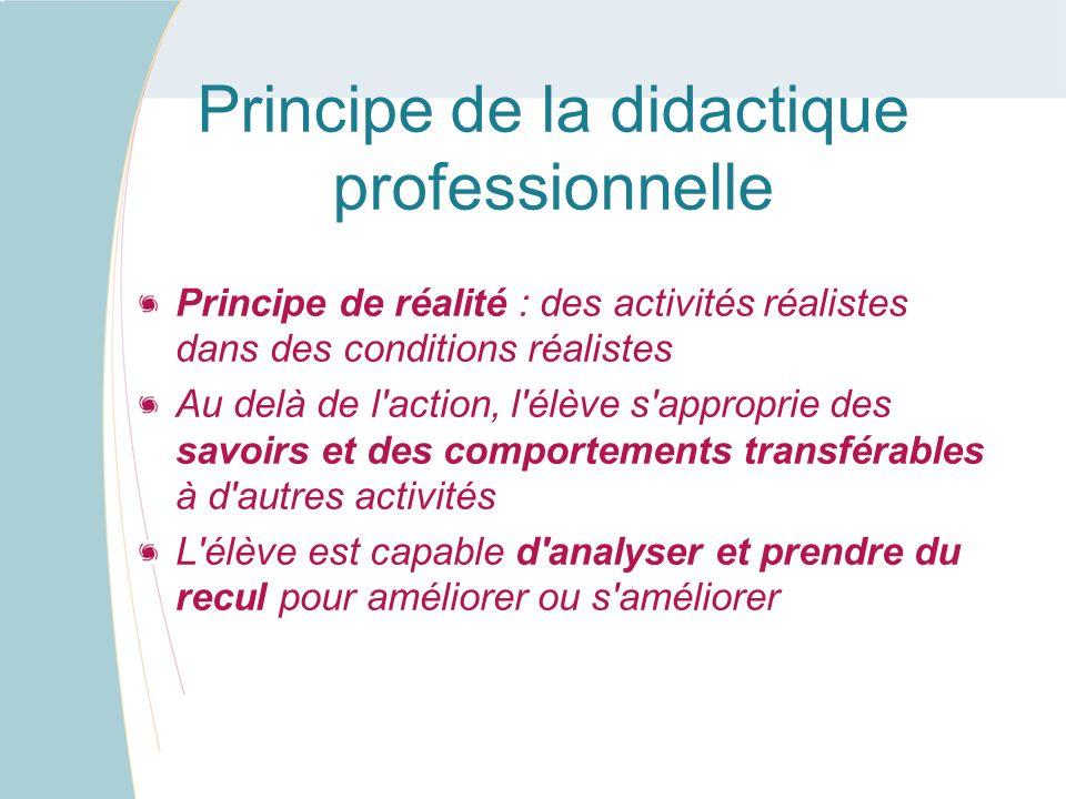 Principe de la didactique professionnelle Principe de réalité : des activités réalistes dans des conditions réalistes Au delà de l'action, l'élève s'a