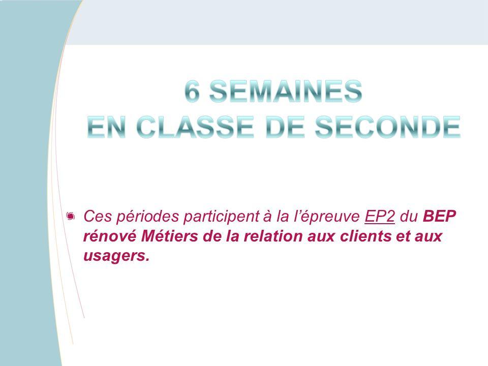 Ces périodes participent à la lépreuve EP2 du BEP rénové Métiers de la relation aux clients et aux usagers.