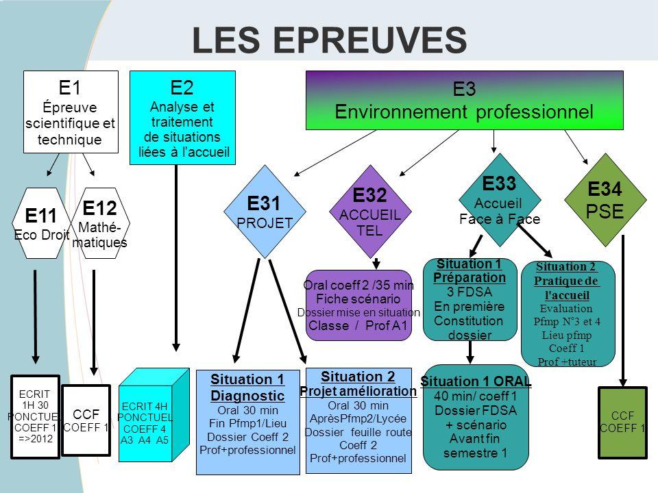 LES EPREUVES E31 PROJET E32 ACCUEIL TEL E33 Accueil Face à Face E3 Environnement professionnel E1 Épreuve scientifique et technique E2 Analyse et trai