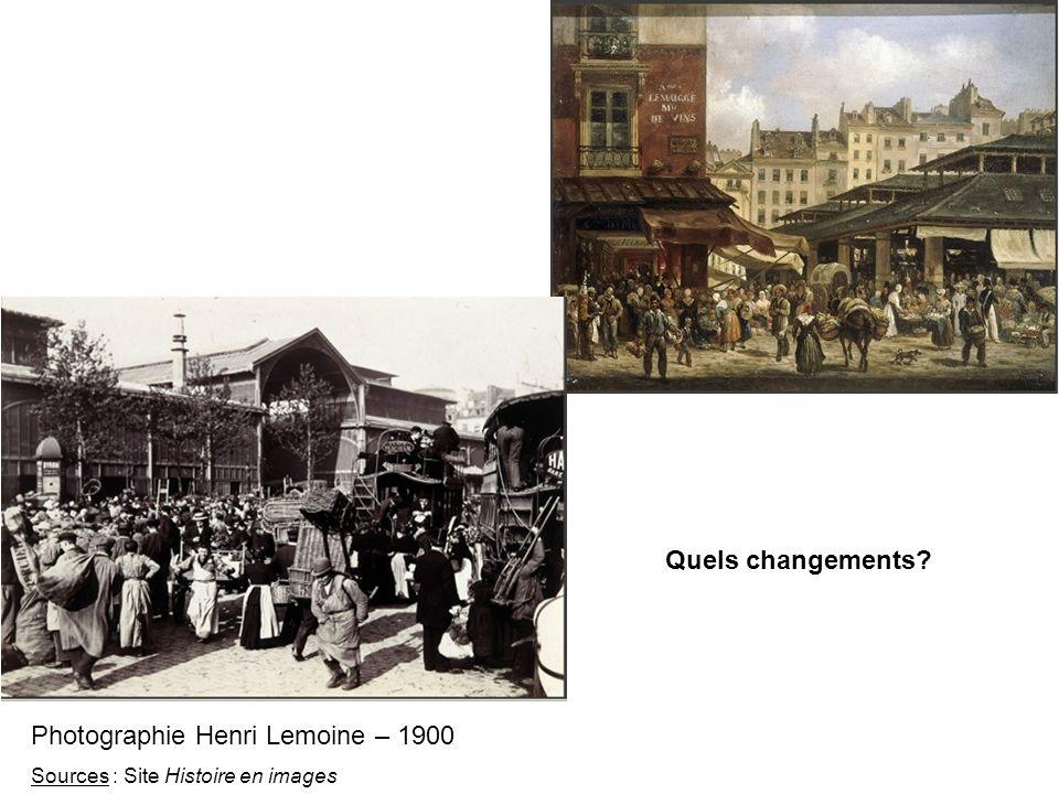 Quels changements? Photographie Henri Lemoine – 1900 Sources : Site Histoire en images