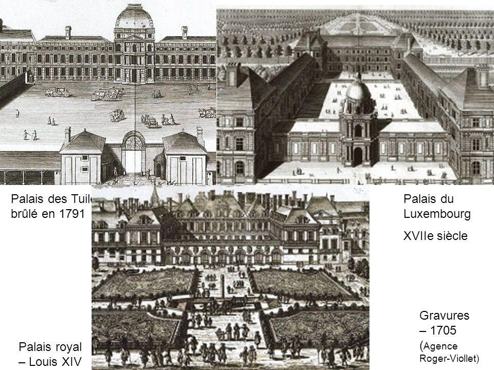 Palais des Tuileries XVIe siècle – brûlé en 1791 Palais du Luxembourg XVIIe siècle Gravures – 1705 ( Agence Roger-Viollet) Palais royal – Louis XIV