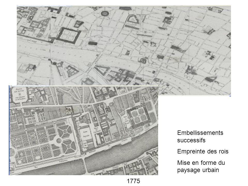 1775 Embellissements successifs Empreinte des rois Mise en forme du paysage urbain