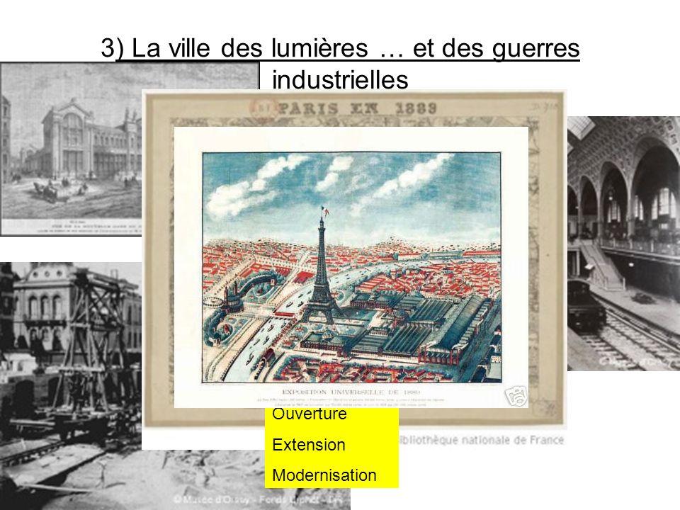 3) La ville des lumières … et des guerres industrielles Ouverture Extension Modernisation