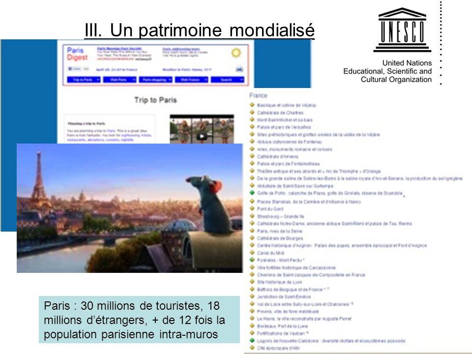 III. Un patrimoine mondialisé Paris : 30 millions de touristes, 18 millions détrangers, + de 12 fois la population parisienne intra-muros