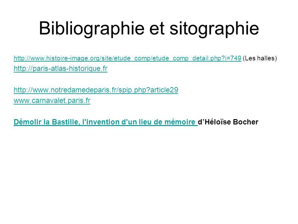 Bibliographie et sitographie http://www.histoire-image.org/site/etude_comp/etude_comp_detail.php?i=749http://www.histoire-image.org/site/etude_comp/etude_comp_detail.php?i=749 (Les halles) http://paris-atlas-historique.fr http://www.notredamedeparis.fr/spip.php?article29 www.carnavalet.paris.fr Démolir la Bastille, l invention d un lieu de mémoire Démolir la Bastille, l invention d un lieu de mémoire dHéloïse Bocher