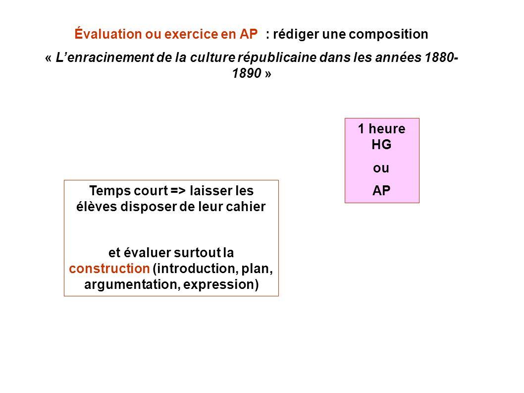 Évaluation ou exercice en AP : rédiger une composition « Lenracinement de la culture républicaine dans les années 1880- 1890 » Temps court => laisser