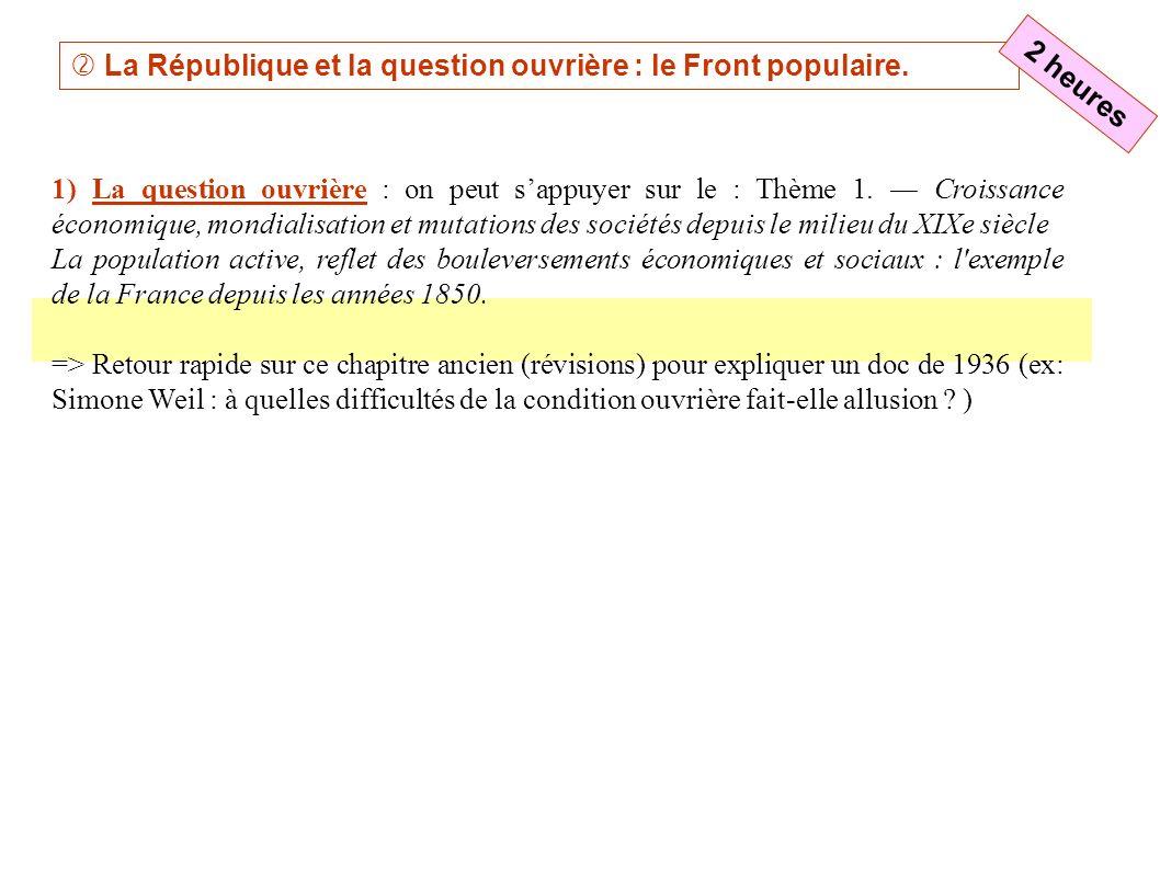 http://www.histoire-image.org 2) Le Front populaire : (à nouveau fournir un plan renvoyant au manuel pour le détail .
