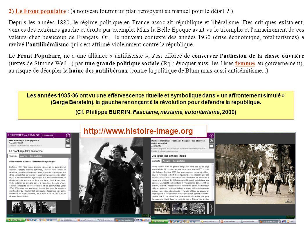 http://www.histoire-image.org 2) Le Front populaire : (à nouveau fournir un plan renvoyant au manuel pour le détail ? ) Depuis les années 1880, le rég