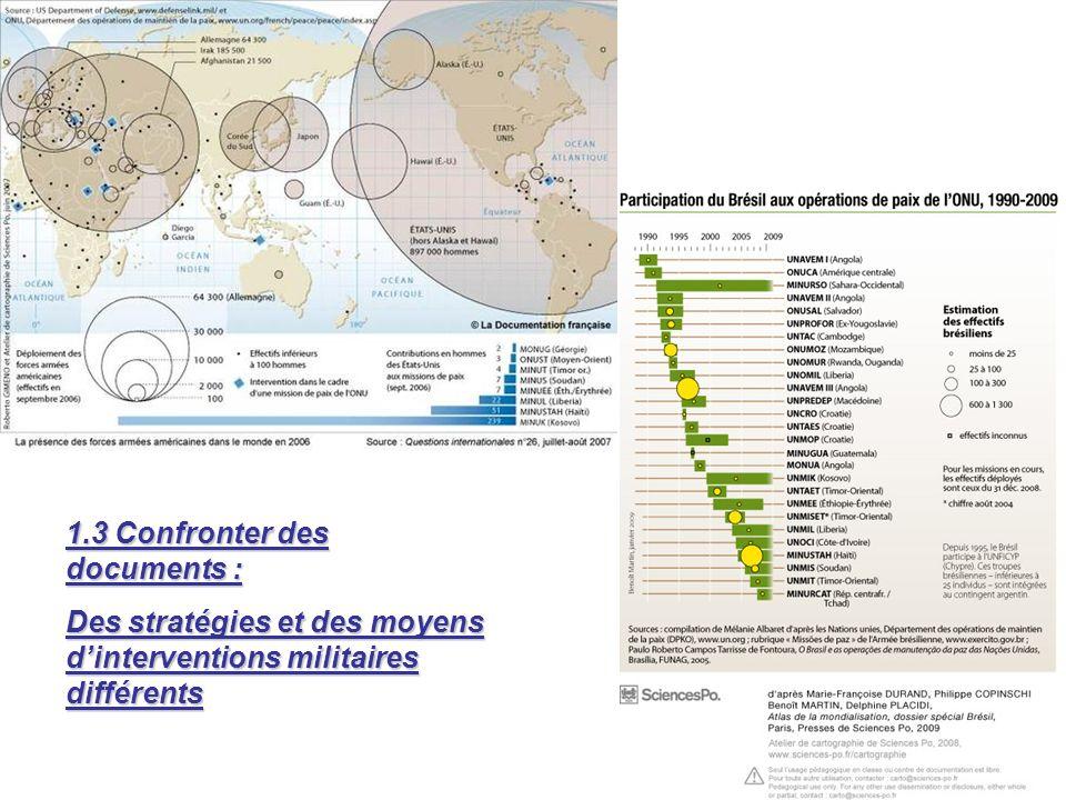 1.3 Confronter des documents : Des stratégies et des moyens dinterventions militaires différents