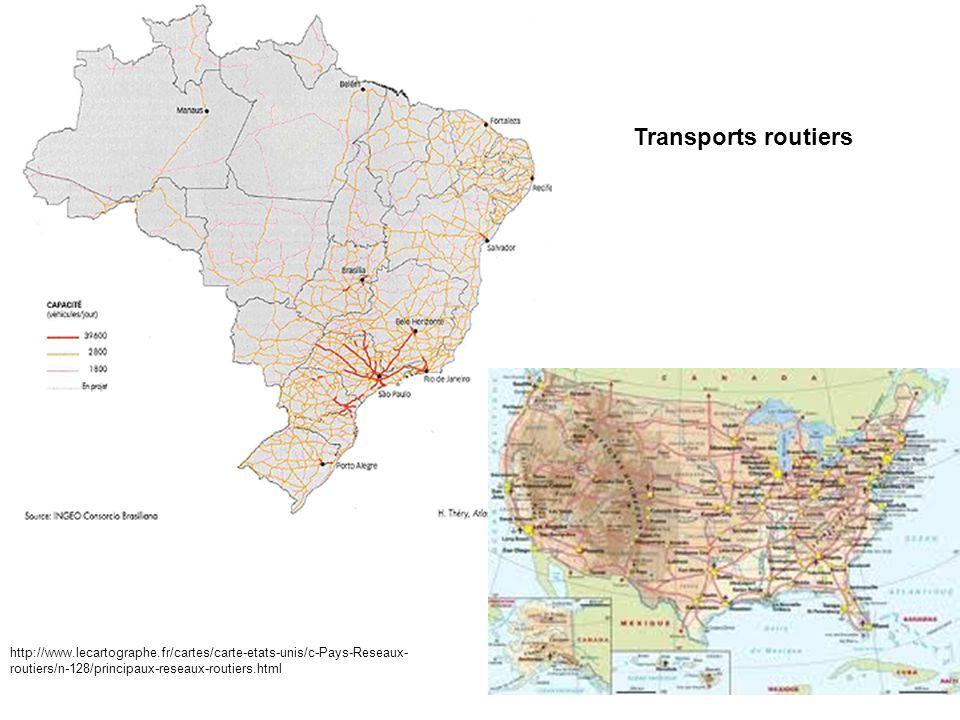 Transports routiers http://www.lecartographe.fr/cartes/carte-etats-unis/c-Pays-Reseaux- routiers/n-128/principaux-reseaux-routiers.html
