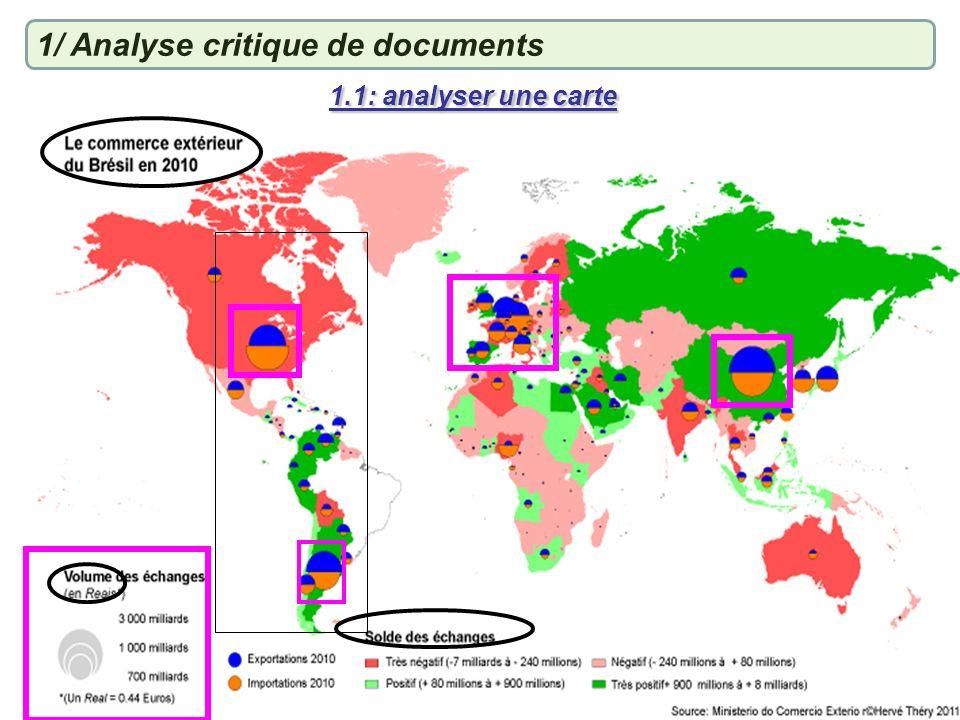 1.1: analyser une carte 1/ Analyse critique de documents