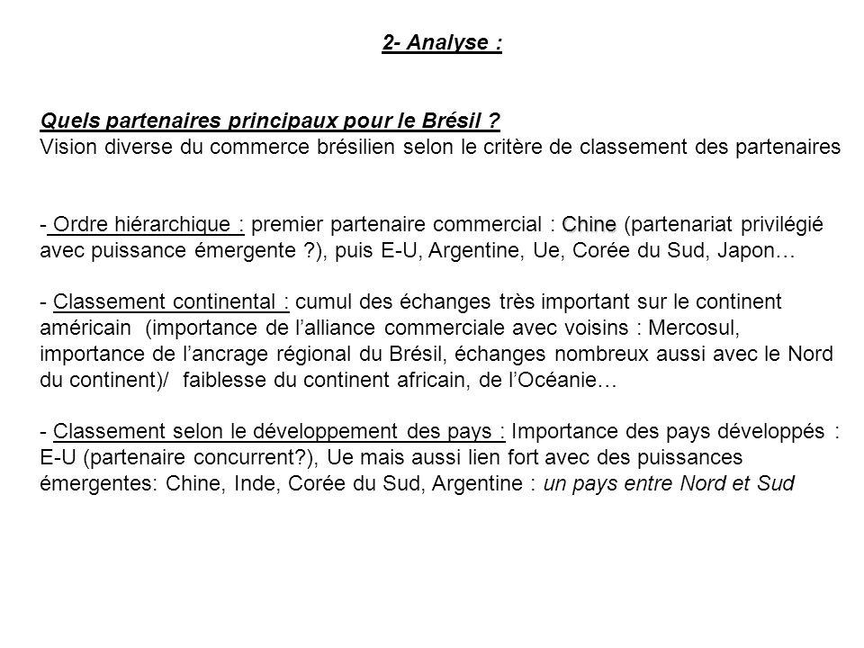 2- Analyse : Quels partenaires principaux pour le Brésil .