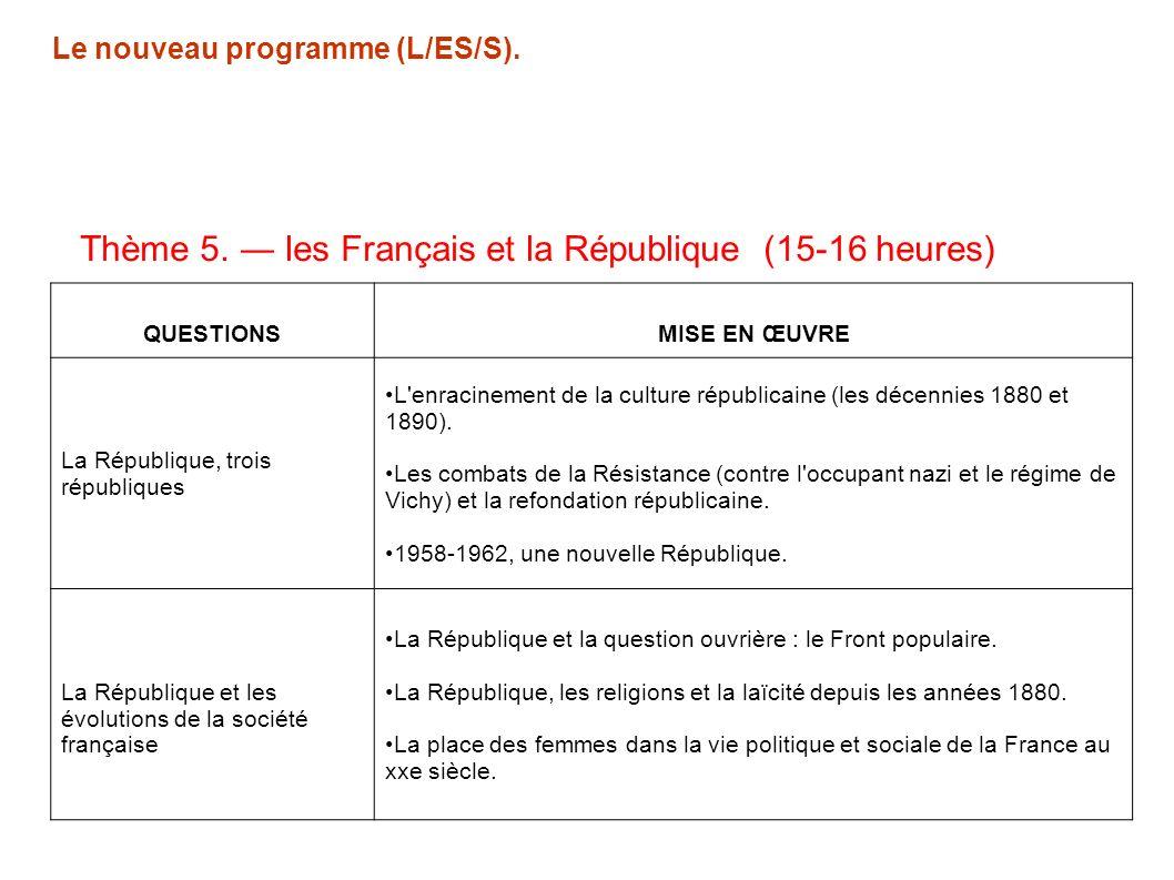 En 1°L/ES Anciens programmes 1°S Anciens programmes La France dune république à lautre (1848-1879) Lenracinement de la République (1879-1914) La France des années 30 : une démocratie libérale La France de la Seconde guerre mondiale.