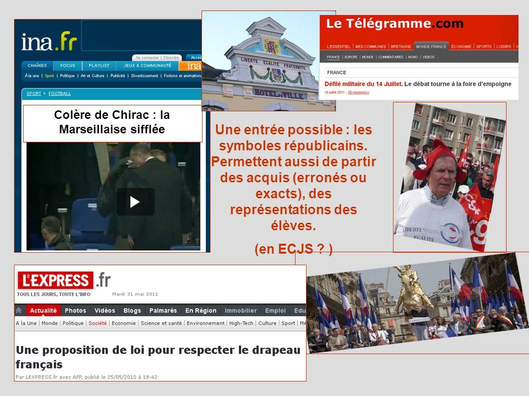 Colère de Chirac : la Marseillaise sifflée Une entrée possible : les symboles républicains.