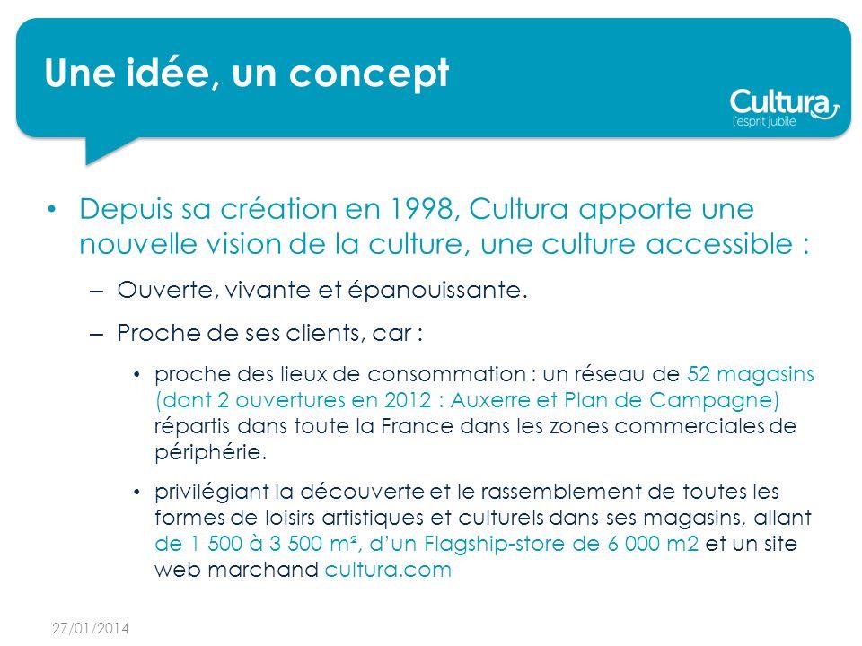 Une idée, un concept Depuis sa création en 1998, Cultura apporte une nouvelle vision de la culture, une culture accessible : – Ouverte, vivante et épanouissante.