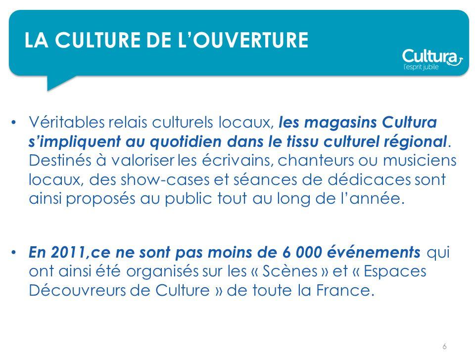LA CULTURE DE LOUVERTURE Véritables relais culturels locaux, les magasins Cultura simpliquent au quotidien dans le tissu culturel régional.