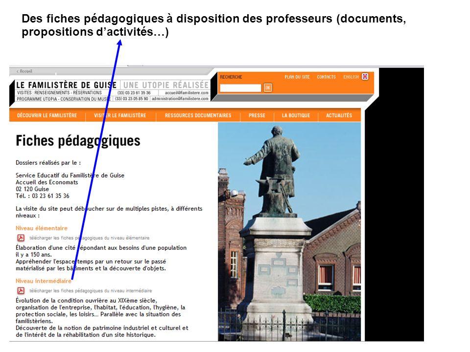 Des fiches pédagogiques à disposition des professeurs (documents, propositions dactivités…)