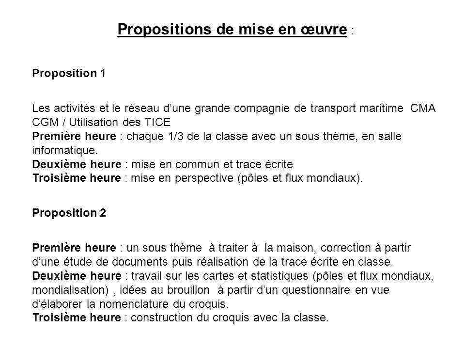 Propositions de mise en œuvre : Proposition 1 Les activités et le réseau dune grande compagnie de transport maritime CMA CGM / Utilisation des TICE Première heure : chaque 1/3 de la classe avec un sous thème, en salle informatique.