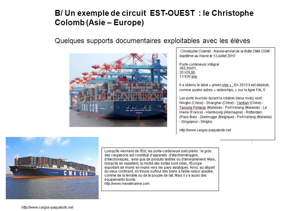 B/ Un exemple de circuit EST-OUEST : le Christophe Colomb (Asie – Europe) Quelques supports documentaires exploitables avec les élèves