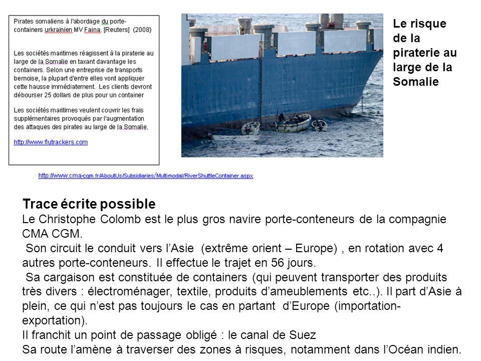 Trace écrite possible Le Christophe Colomb est le plus gros navire porte-conteneurs de la compagnie CMA CGM.
