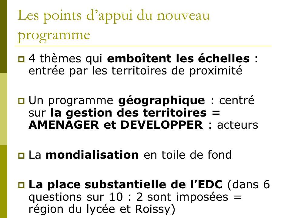 Les points dappui du nouveau programme 4 thèmes qui emboîtent les échelles : entrée par les territoires de proximité Un programme géographique : centr