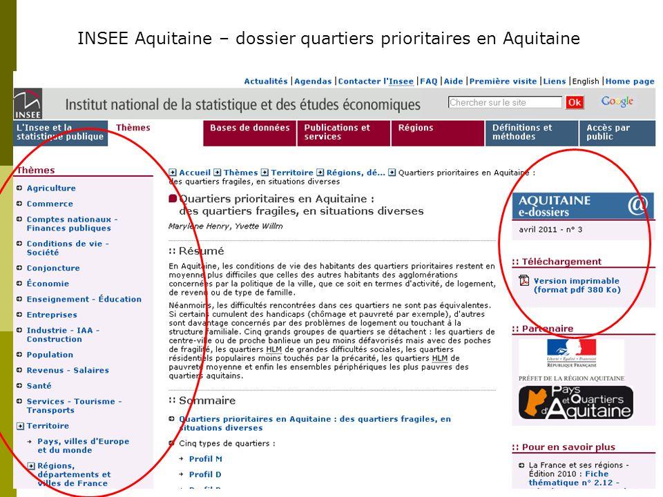 INSEE Aquitaine – dossier quartiers prioritaires en Aquitaine