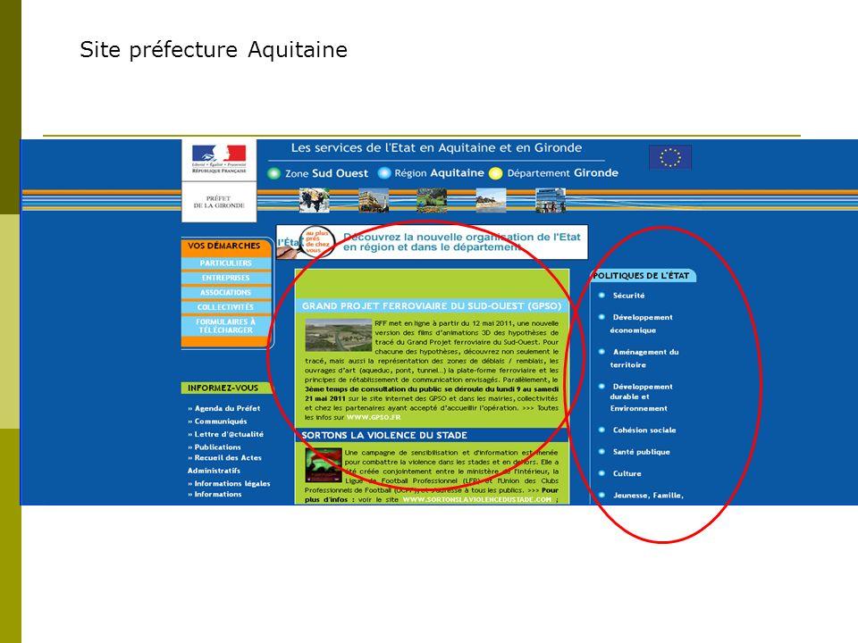 Site préfecture Aquitaine